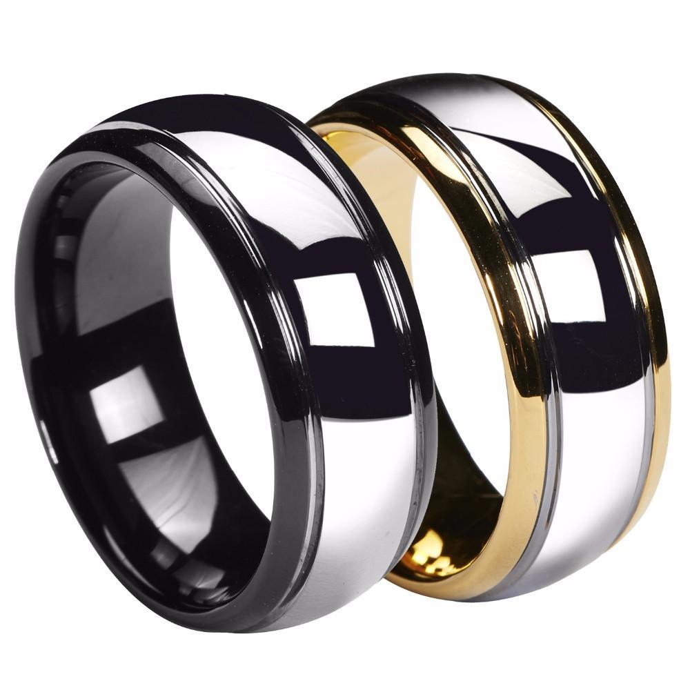 Ouro Queenwish 8 milímetros Dome 18K / preto dos homens de tungstênio anel de casamento banda Gunmetal Jóias nupcial Tamanho 6-13