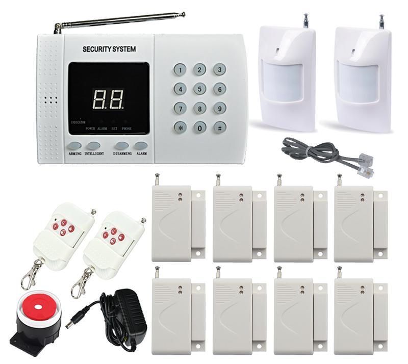 Wireless PIR Home House Office Security Burglar Alarm System Auto Dialing Dialer 2x Motion Detector 8x Door/Windows sensor