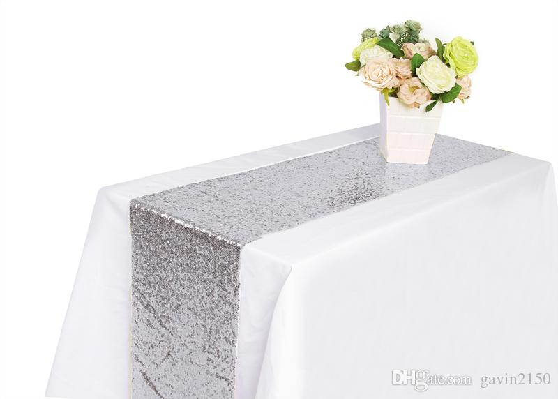 Free shipping 12 X 108inch Silver Sequin Table Runner For Christmas Wedding Party Banquet Home Decoration