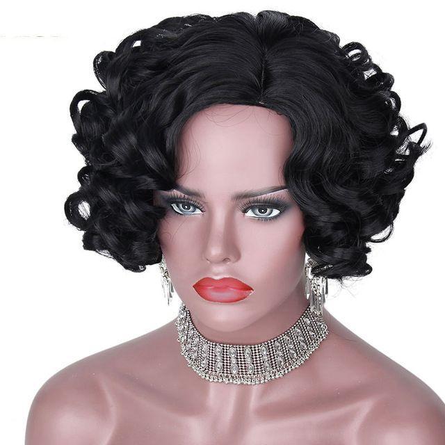 """Peluca rizada sintética peluca negra de 12 """"para cabello afroamericano resistente al calor afroamericano"""