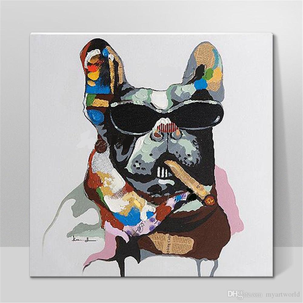 Cane freddo con gli occhiali con cornice, dipinto a mano puro DECORAZIONE A PARETE contemporanea Pittura ad olio su tela ad arte animale.Multiplici formati 5ju