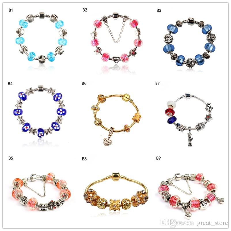 heart shell Tibetan silver glass beads Charm Bracelet,hot sale fashion women's DIY European Beads bracelet 6 pieces a lot mixed style GTPDB1