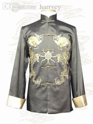 سقوط-خمر أسود الصينية التقليدية دثار الحرير الحرير معطف اليدوية والتطريز التنين أبلى S M L XL XXL XXXL M-1011