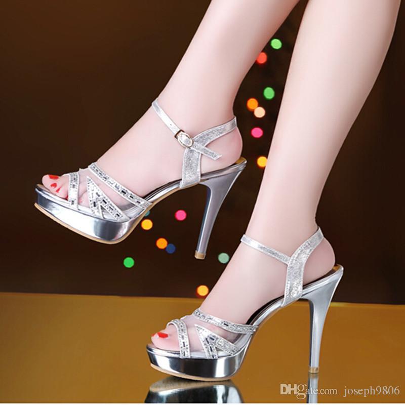 2016 neue Diamant Mesh hochhackigen Ledersandalen Frauen Sommer goldene Schuhe Peep Toe