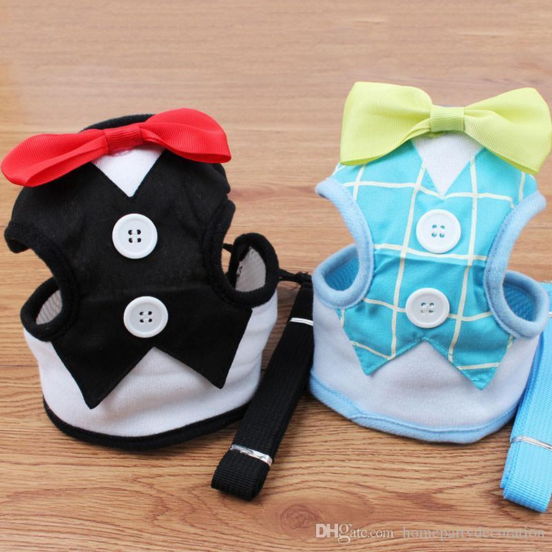 Pet Dog Chest Vest Harnesses Walking Lead Leash Strap Belt Velvet Bowtie Suit Tuxedo Party Harness Clothes For Dog Cat Puppy