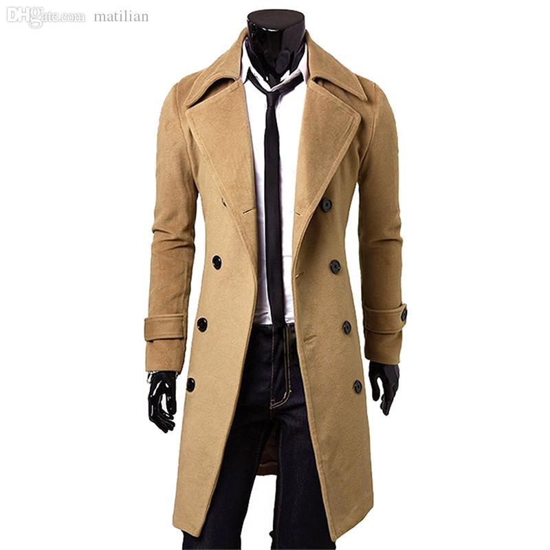 Otoño-larga de los hombres Chaquetón invierno por la chaqueta para hombre de la capa masculina camello / negro / gris de lana Abrigo Manteau MC056