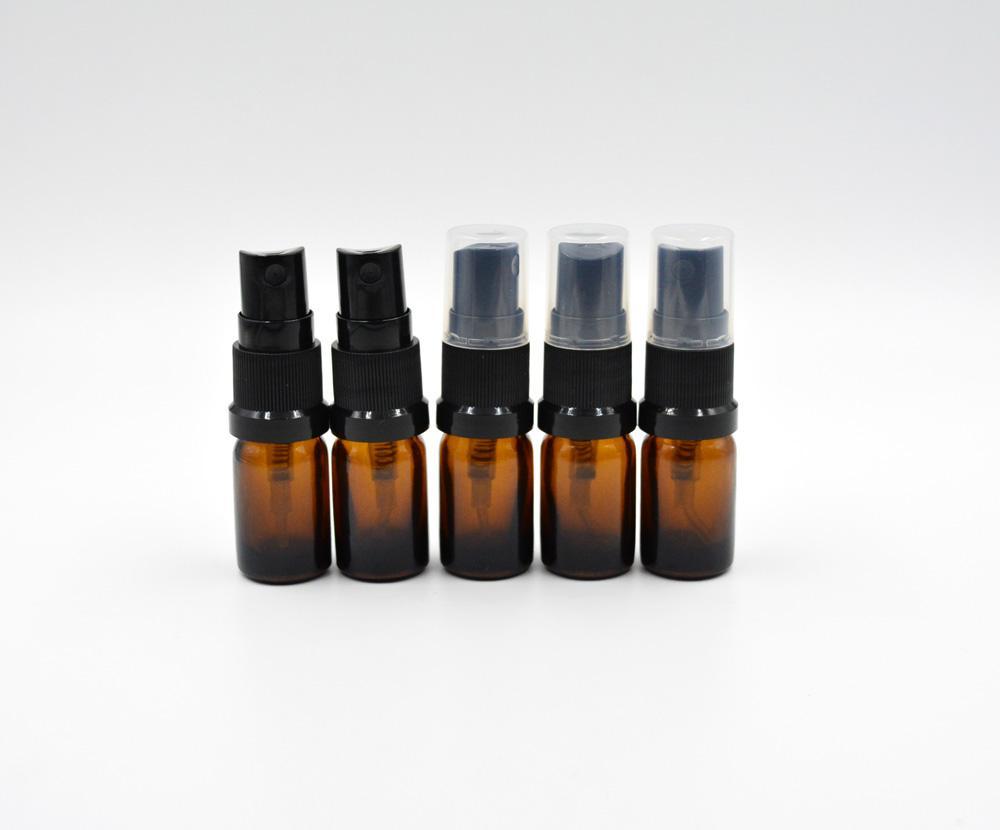 5ml Leerer starker bernsteinfarbiger Zerstäuber-Glasflaschen-Spray-nachfüllbares schweres Parfüm-Aromatherapie-wesentliches Öl 600pcs / lot durch DHL geben Brown frei