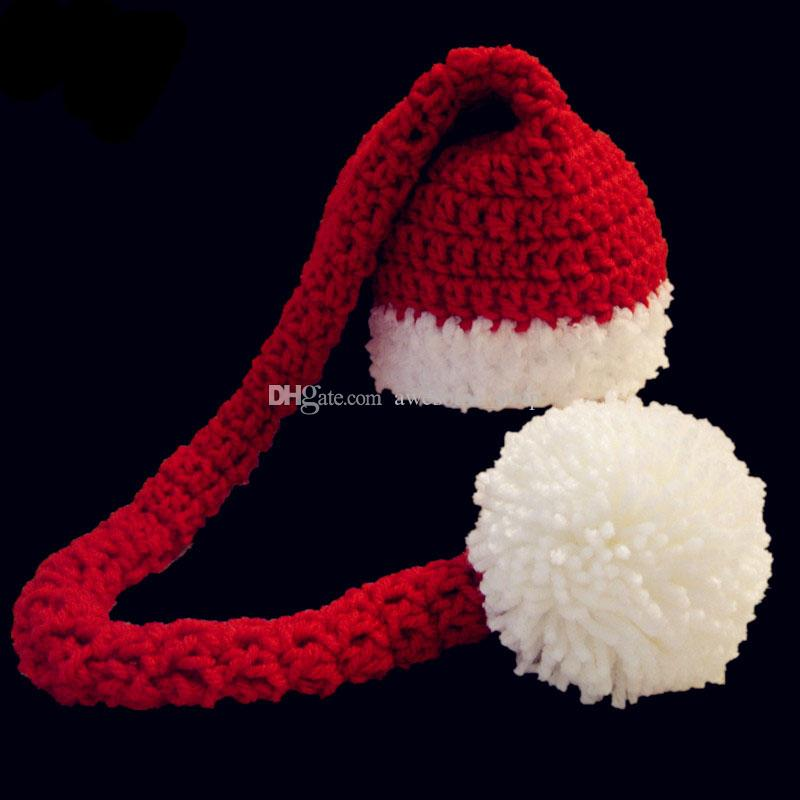 Santa Elf Long Tail Beanie,Handmade Knit Crochet Baby Boy Girl Christmas Pompom Hat,Holiday Winter Hat,Infant Toddler Photo Prop