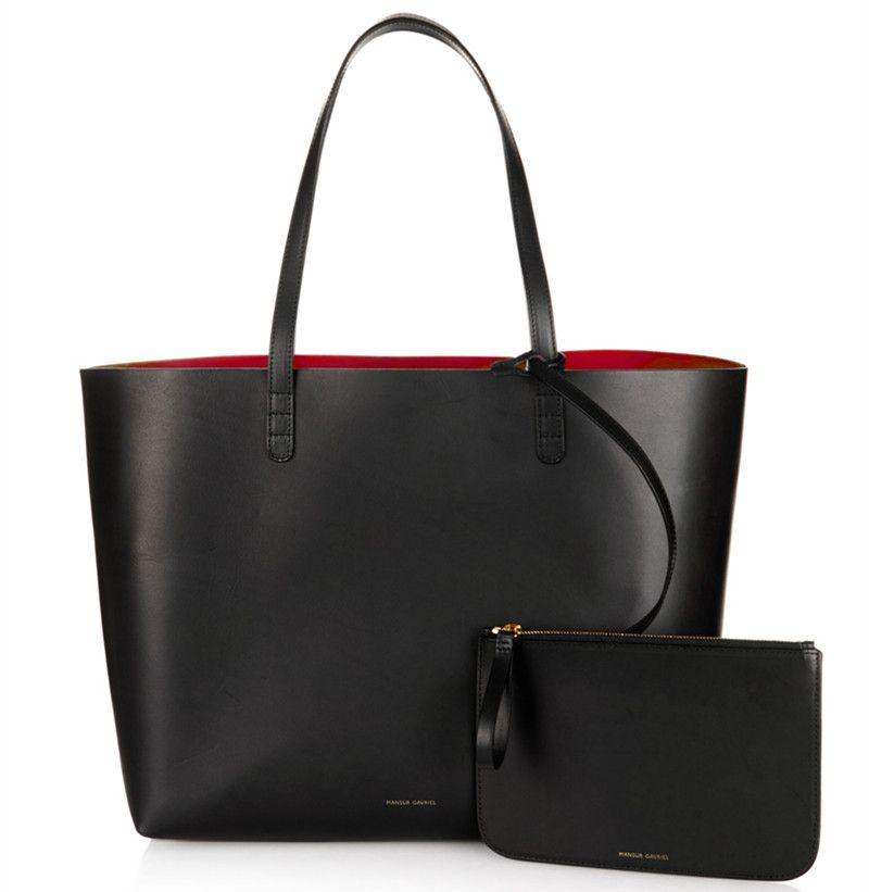Donne Shopper Large Tote Bag Black Bag Mano con piccolo mini della borsa della borsa genuina del cuoio reale