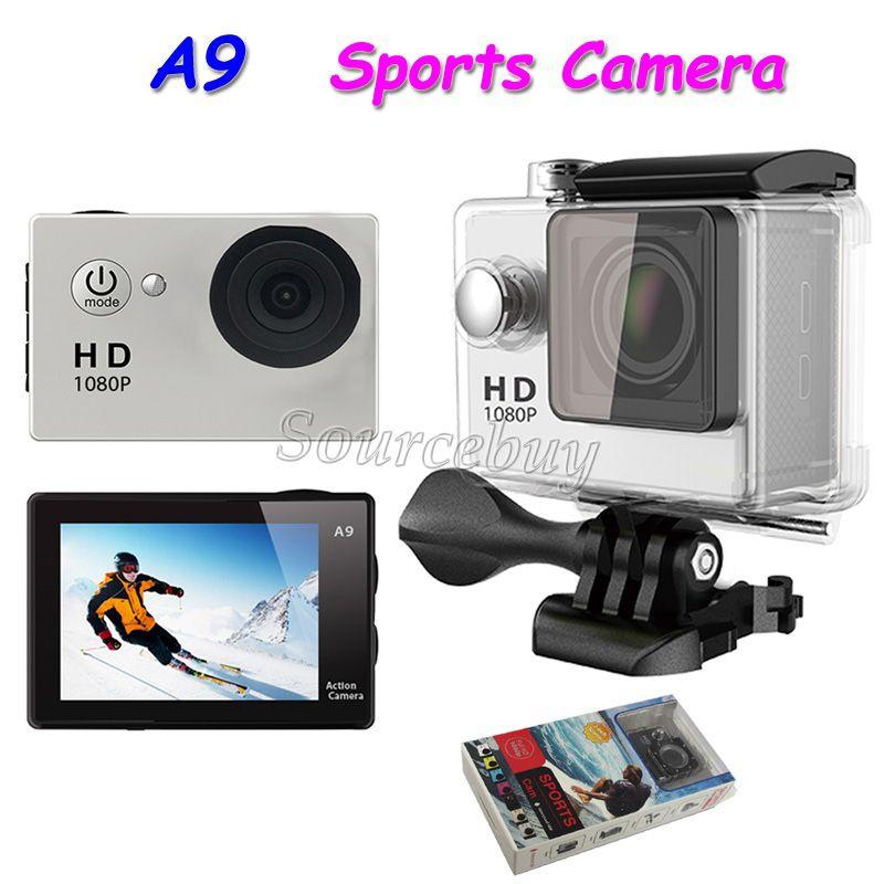 """방수 스포츠 카메라 A9 풀 HD 1080P 다이빙 30M 2.0 """"액션 카메라 120 °보기 미니 DV 디지털 캠코더"""