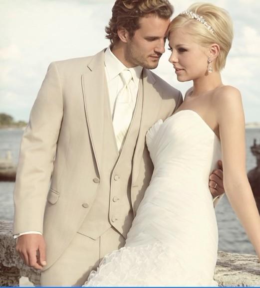 Wholesale- Fashion Style Two Button Beige Groom Tuxedos Groomsmen Men's Wedding Prom Suits Bridegroom (Jacket+Pants+Vest) K:100