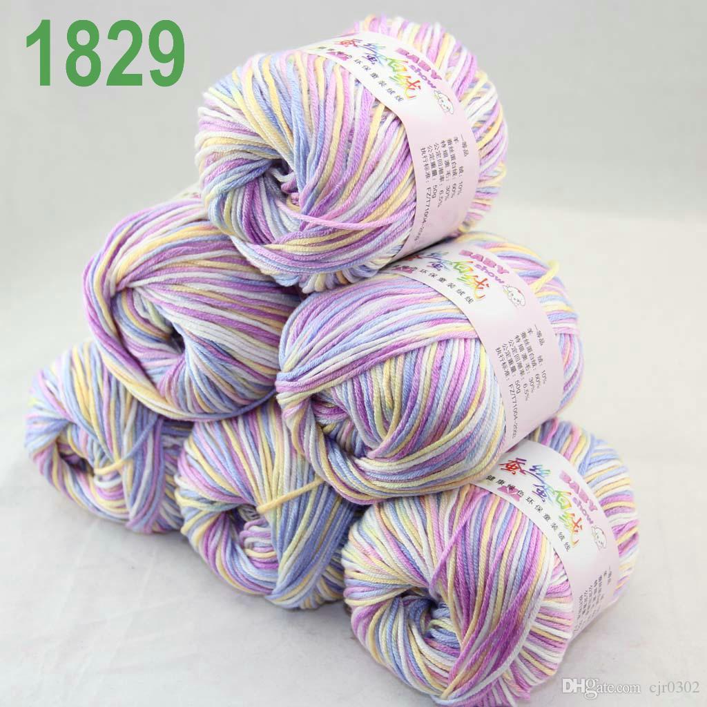 Продажа много 6 шаров х 50 г кашемир шелковый бархат детская пряжа WhiteblueViolet 18-29