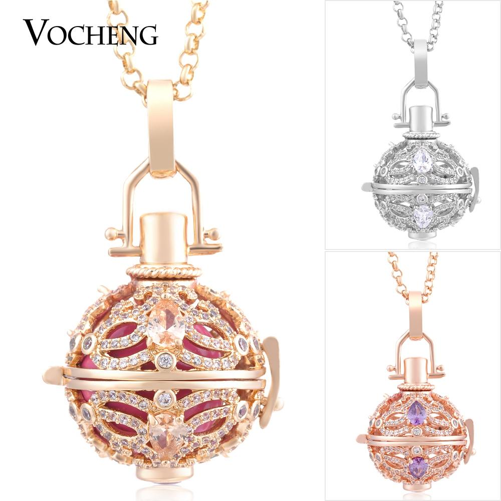 Chime Harmony Pendant Stainless Steel Chain 3 Colors Filled Cubic Zirconia Luxury Angel Lockets VOCHENG VA-218