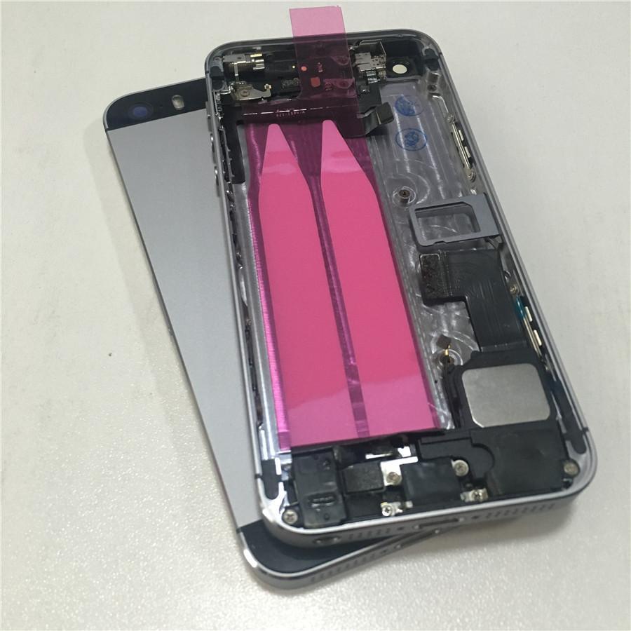 Grigio Completo Assemblaggio completo Alloggiamento Posteriore centrale posteriore Coperchio posteriore in metallo Ricambio per iPhone 5s