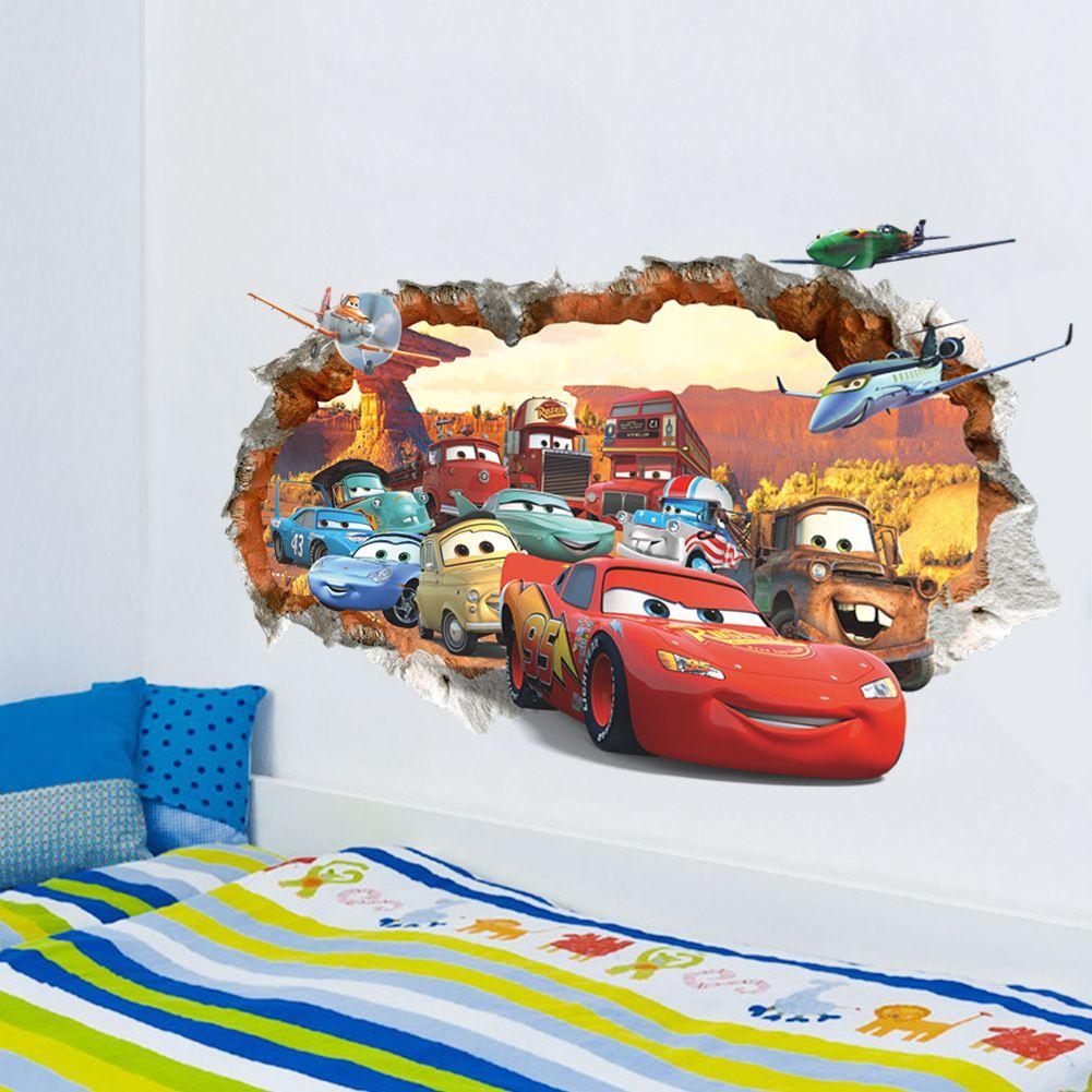 ... Cars Lightning McQueen 3D PVC Removable Broken Wall Stickers For Kids Children Boys Room Home Decoration ...  sc 1 st  DHgate.com & Cars Lightning Mcqueen 3d Pvc Removable Broken Wall Stickers For ...