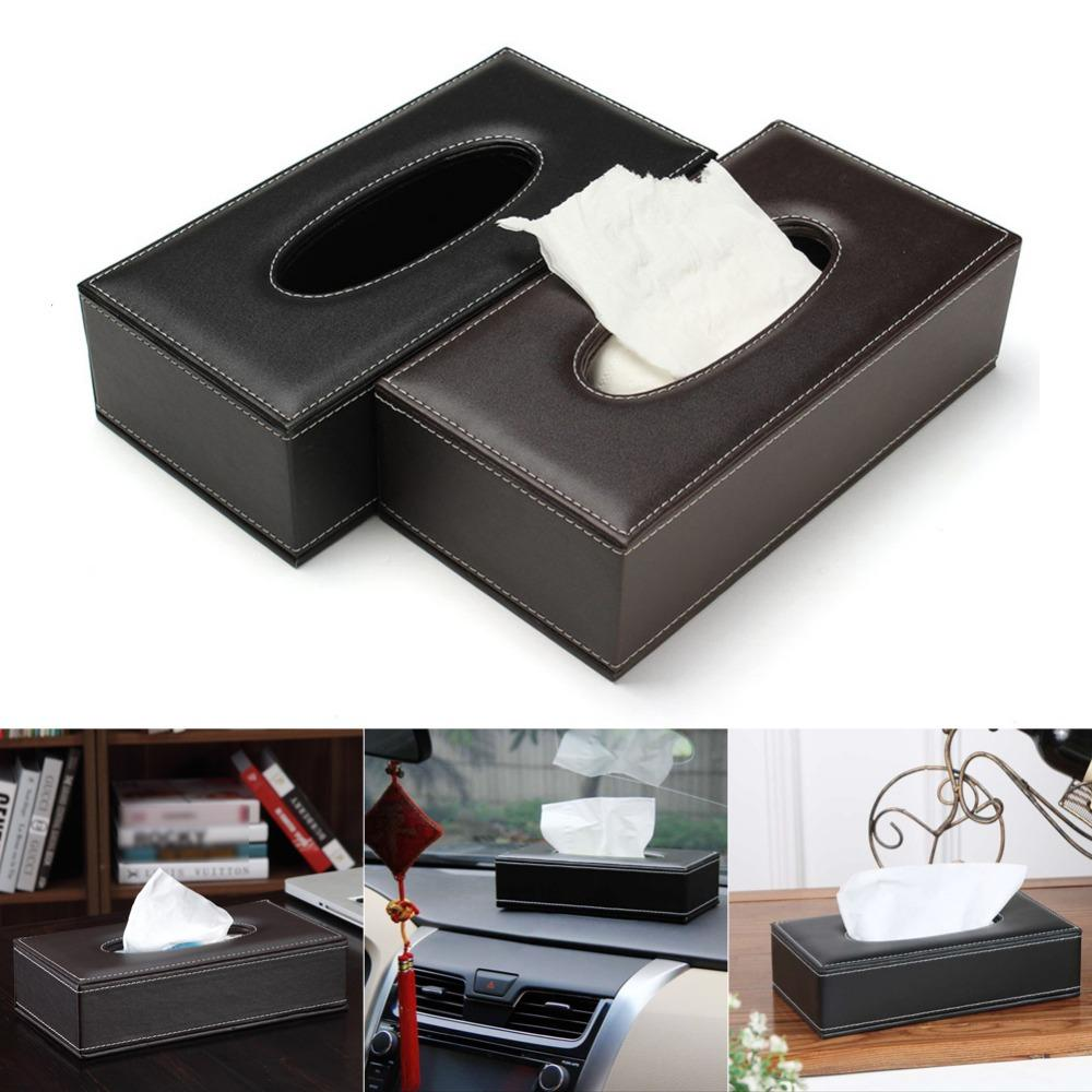 Free Shipping PU Leather Seat Oblong Rectangle Tissue Box Cover Napkin Paper Holder Case Home HOTEL Car Black/Brown 2Colors order<$18no trac
