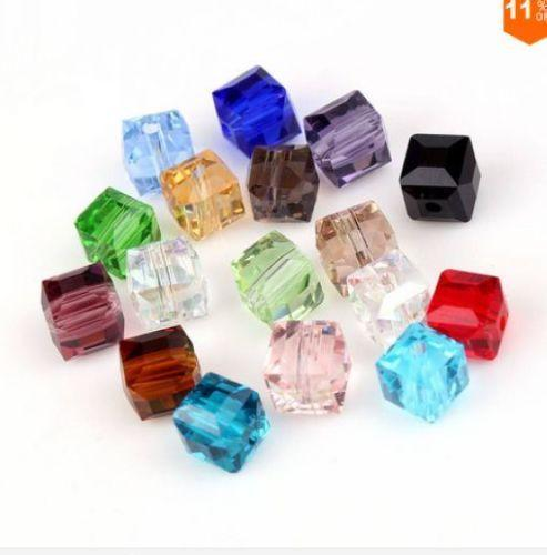 200 unids mezcla Crystal Square Beads Cuentas de cristal Faceted Glass Bead para Jewelry Earring 6mm 8mm