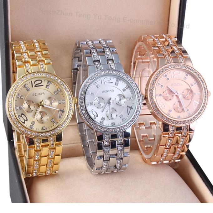 Montres de haute qualité Automatique Quartz Montre en acier inoxydable Diamant De Luxe Calendrier Montre-bracelet pour Hommes Femmes Rose Or Couleur