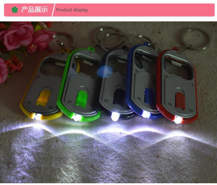 Tomada de fábrica LED abridor de garrafas de plástico lâmpada chave luminosa titular abridor de garrafa chaveiro luz pequenos presentes
