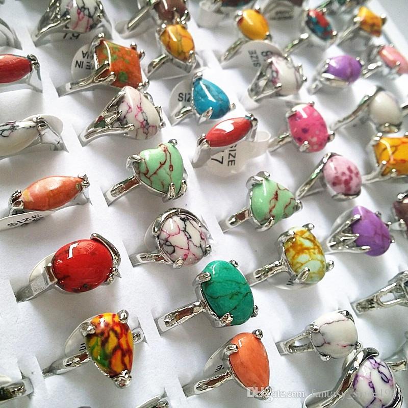 nuevo 100 unids estilos mixtos hermosas mujeres multicolor arco iris natural joyas de aleación de piedra anillos lotes al por mayor