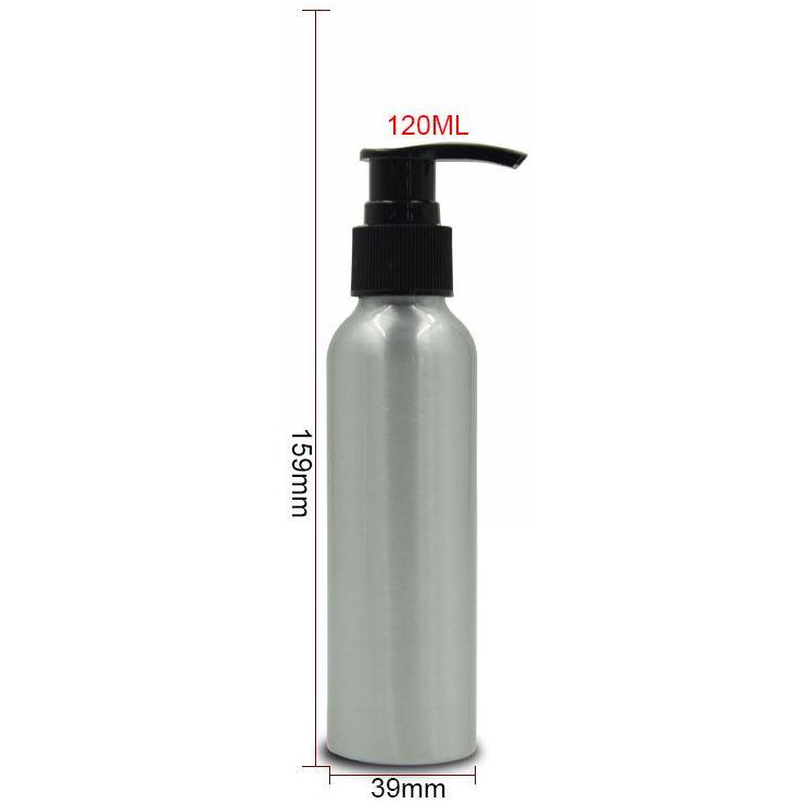 120 ml 휴대용 알루미늄 펌프 메이크업 병 리필 되나요 빈 로션 분무기 병 여행 화장품 용기 10pcs / lot FZ134