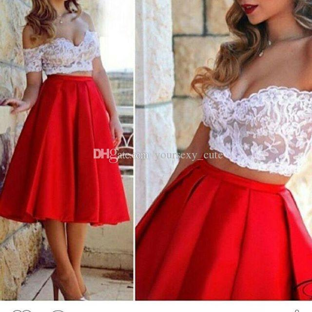 Two Piece Red Short Prom Dresses 2017 Sexy Off Shoulder Short Sleeves Lace Top Illusion Bodice White Red Cocktail Dresses Short Party Dress