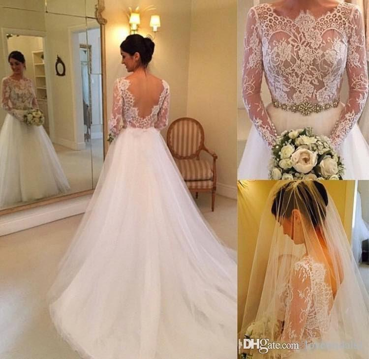 2017 free shipping A-line lace wedding dress bateau long sleeves sexy backless sash tulle sweep length bridals gowns