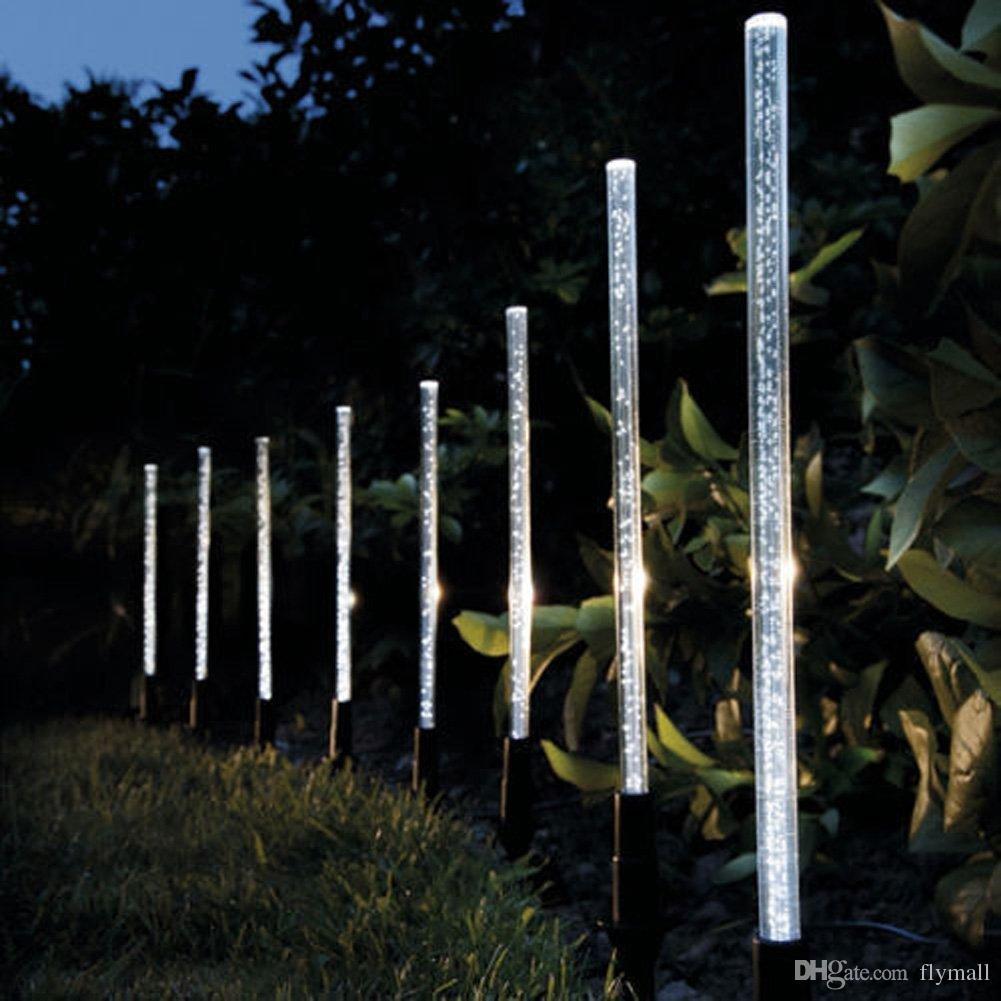 8PCS 태양 에너지 튜브 램프 아크릴 버블 통로 잔디 풍경 장식 정원 스틱 스테이크 라이트 램프 세트를 점등