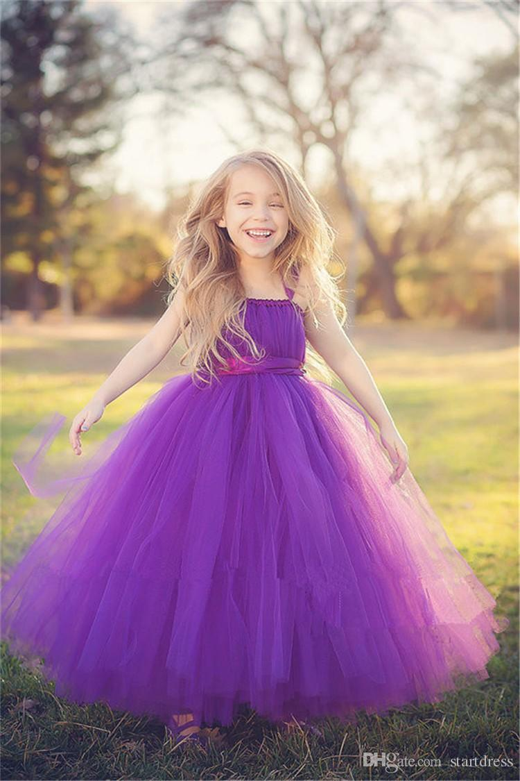 Classical Purple A Line Flower Girl Dresses Spaghetti Tulle Pageant Dresses For Juniors Custom Made Toddler Pageant Dresses