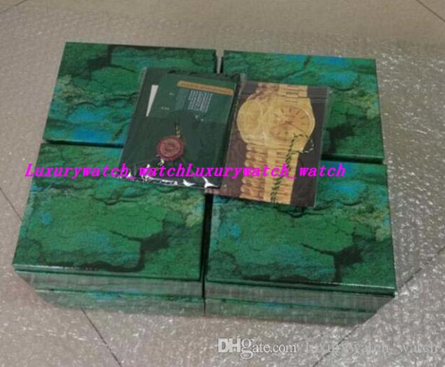 Top Quality Luxo Mens / Womens Wooden Green Relógio Caixa de Relógio de Relógio de Madeira Cartão Carteira Carteira Boxescases relógio de pulso