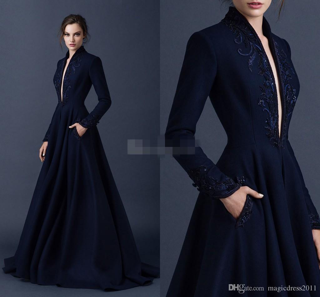 Vestidos de noche de satén azul marino Bordado Vestidos de Paolo Sebastian Vestidos de fiesta formales con cuentas Vestidos de fiesta con cuello en V hundidos