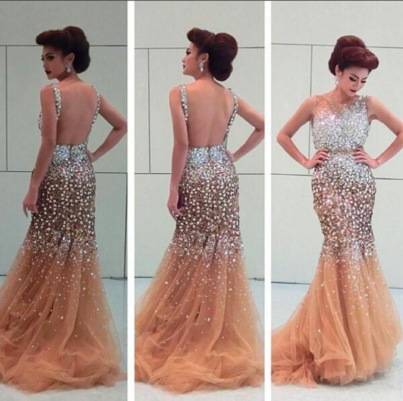 00736e376368 Amazing Rhinestone Beaded Prom Dresses 2016 Sheer Neck Open Backless  Champagne Tulle Mermaid Evening Gowns Formal Party Dresses Custom Made