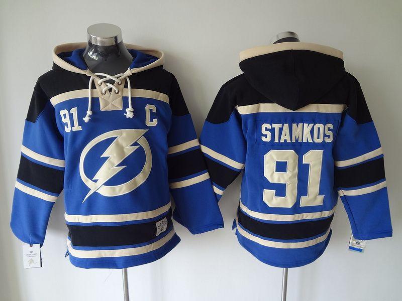 Top Qualität ! Old Time Hockey Trikots Tampa Bay Lightning # 91 Steven Stamkos Blauer Kapuzenpullover Sport-Sweatshirts Winterjacke