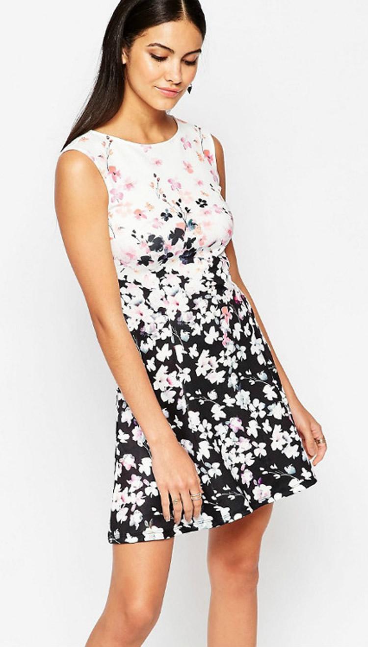 Abiti casual a fiori girocollo con stampa floreale a fiori donne 0616102