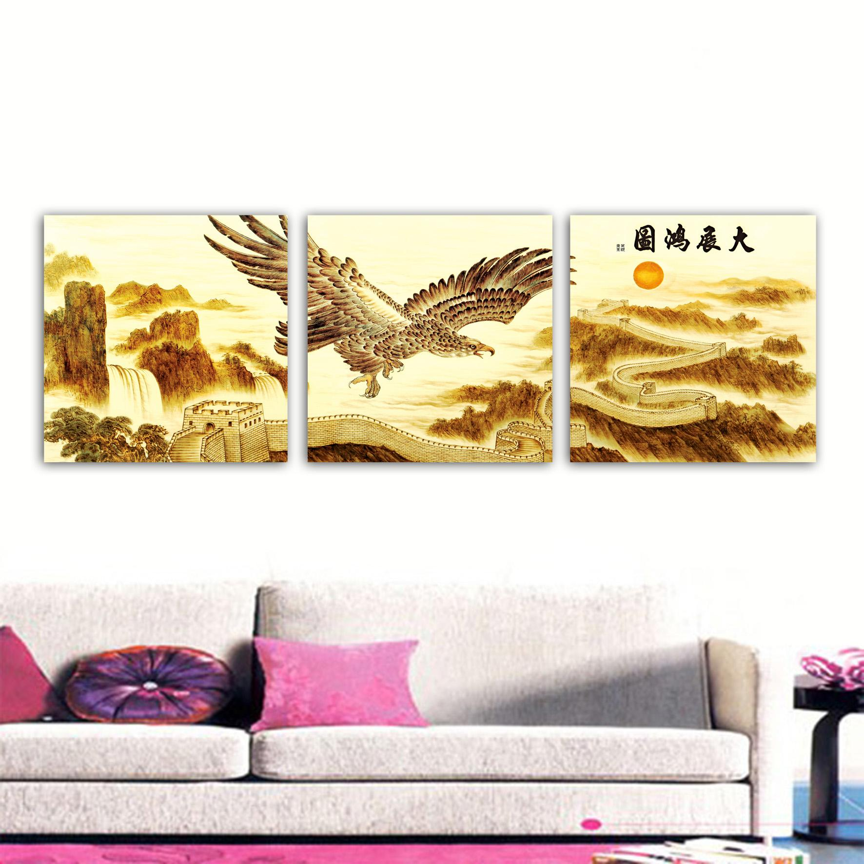 unframed 3 Pieces art picture Home decoration Canvas Prints eagle Great Wall of China mountain Lotus leaf Abstract painting coconut tree sea