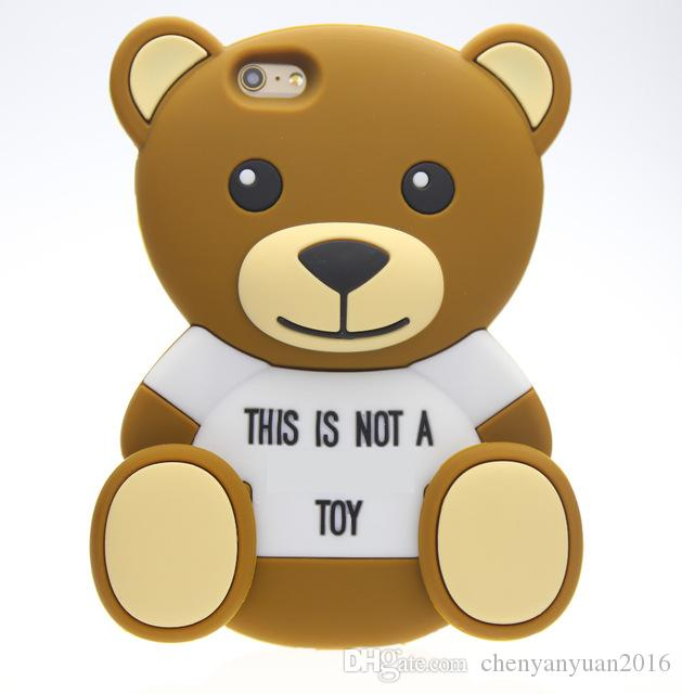 3D Cartoon animals Cute Toy brown teddy bear silicone case For iphone 4s/5 5s/SE/6/6plus s3/s4/s5/s6/J5/Note3/4/E5/7/A5/A7