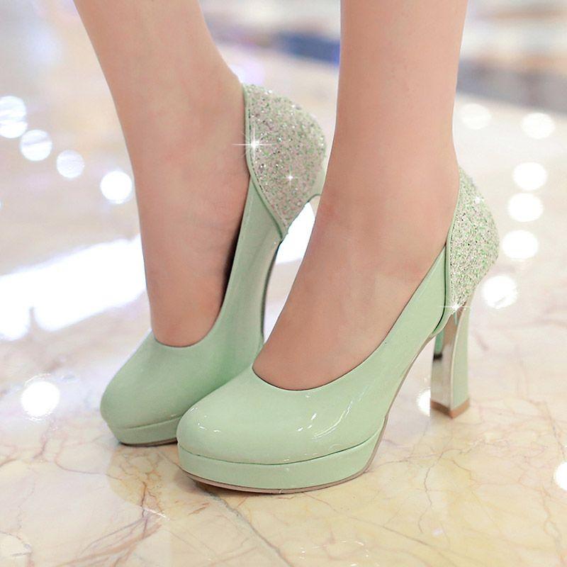 2016 Mint Green Pumps High Heels Wedding Shoes Round Toe Elegant Lady  Chunky Heel Platform Bridal ...