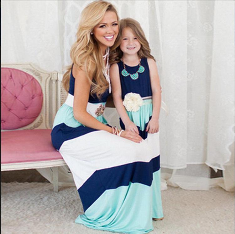 2016 부모 - 자식 가족 드레스 파란색과 흰색 줄무늬 패션 드레스 어머니와 딸 복장 조끼 드레스
