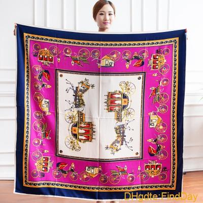 free shipping New Large shawl 130*130CM H scarves silk Carriage chain simulation silk twill cotton feminino Women scarf without logo