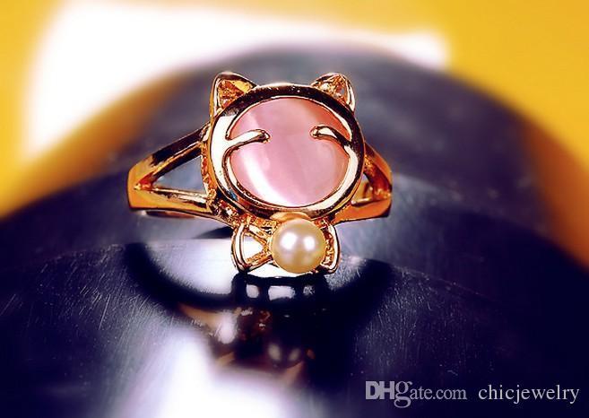 Gorąca Sprzedaż Opal Pearl Lovely Cat Pierścień Moda Biżuteria Pierścień Dla Kobiet Dziewczyna Panie Palcowe Pierścień Złoty Plated Pierścionki Biały / Różowy Jewellry Akcesoria