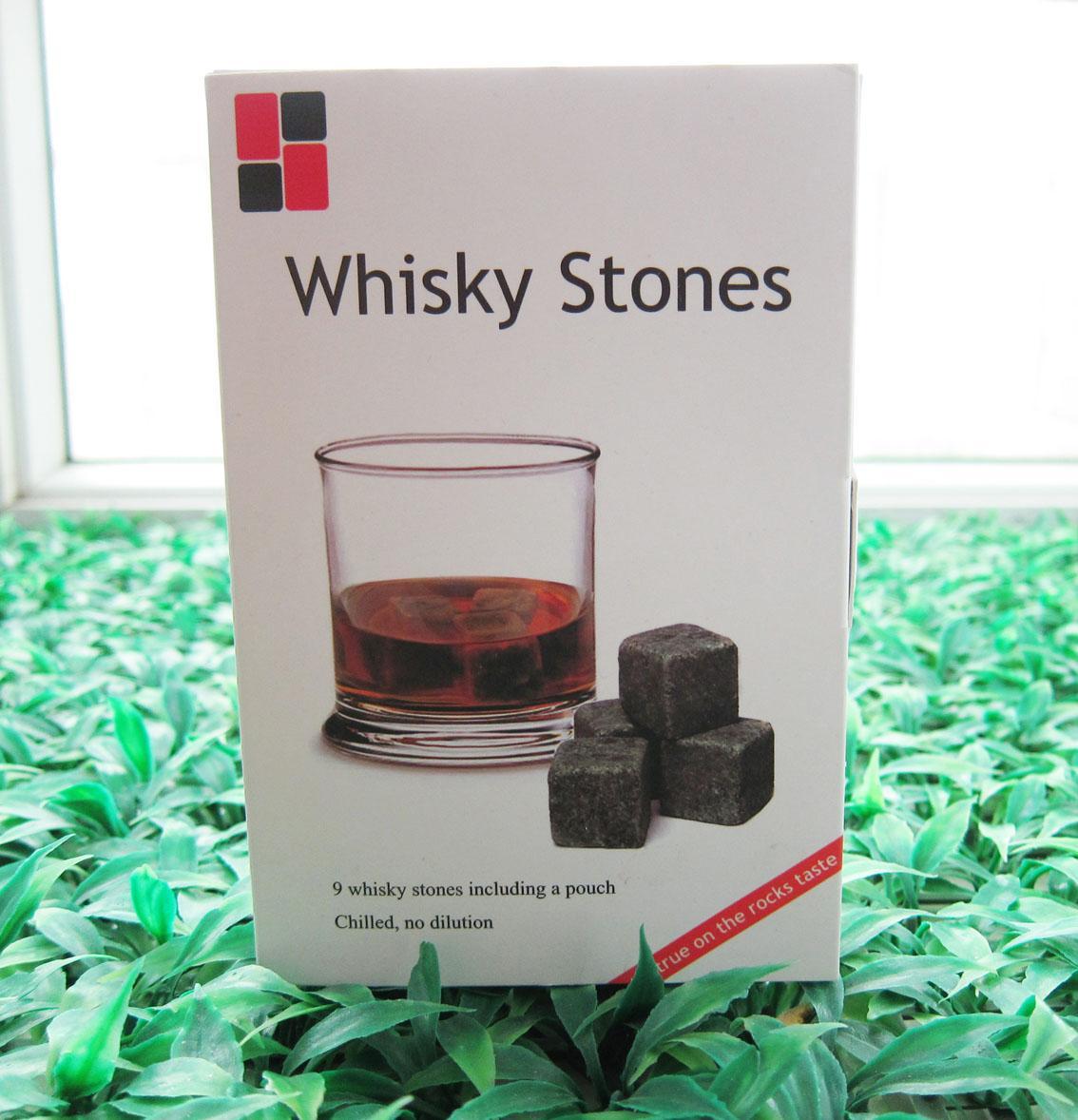 Blesestone (W / R) Boxed Whiskey Stones 9pcs / set mit zarten Box + Velvet Bag Whiskey Rock Bier Stein Eiswürfel Stein Weihnachtsgeschenk