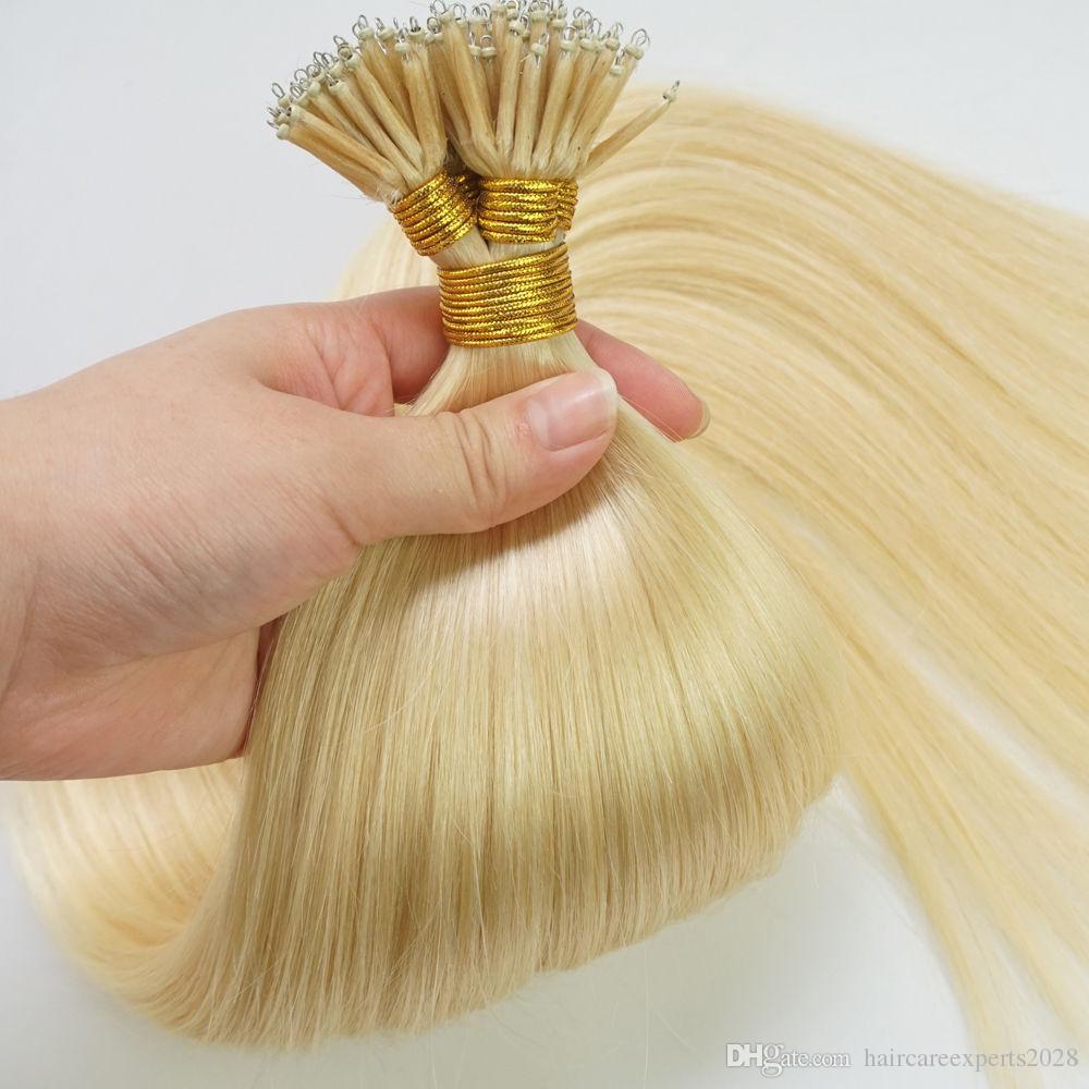 ELIBESS HAAR-Brasilianische Menschenhaar 1g / strang 200 stränge / lot blonde # 613 Nano Ring Menschenhaarverlängerung Gerade Welle