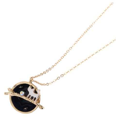 Wholesale-N147 Free shipping 18K Gold Plating Fairy tale Cute Cat Star Planets Pendant Necklaces Wholesale HY