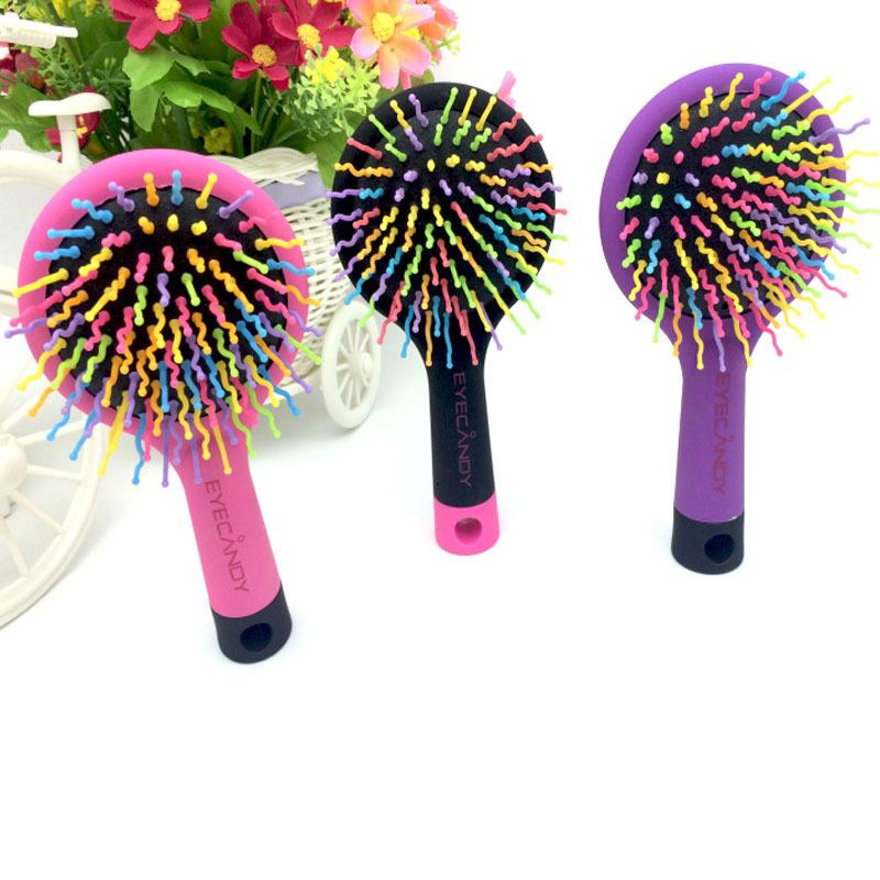 Creative portable anti - static rainbow comb massage airbag comb with a mirror wholesale