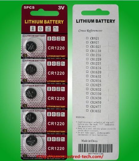 1000pcs / lot (200cards) Fabrik Großhandel CR1220 3V Lithium Knopfzellen Knopfzellen 100% frisch 5PCS pro Blisterkarte