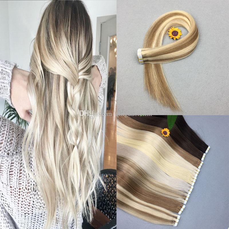 Fita PU em extensão do cabelo humano do cabelo de Seda Em Linha Reta 100% Remy Do Cabelo Humano # 60 platina loira Estilo Festa Frete Grátis