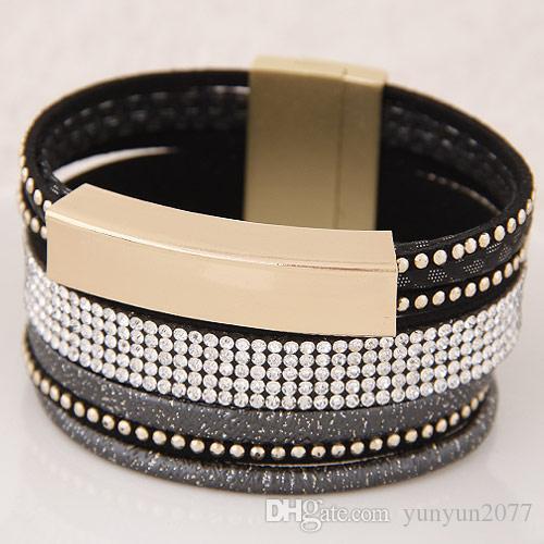 De gama alta de accesorios de moda retro vendimia de la joyería del Rhinestone de la piedra imán imán geométrico del cuero del encanto pulseras de múltiples capas del brazalete para las mujeres