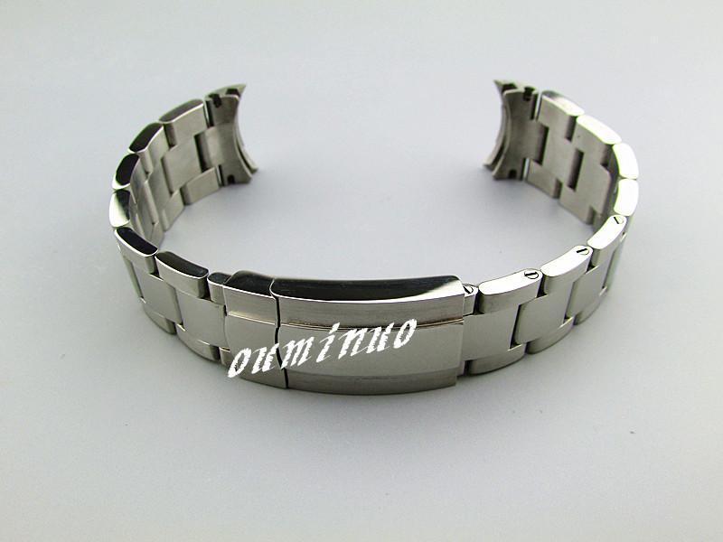 20mm YENİ Saf Katı 316L Kavisli uç Paslanmaz çelik Gümüş (+ Fırçalı Cilalı) Rolex saat için Biten İzle Gruplar Bilezikler