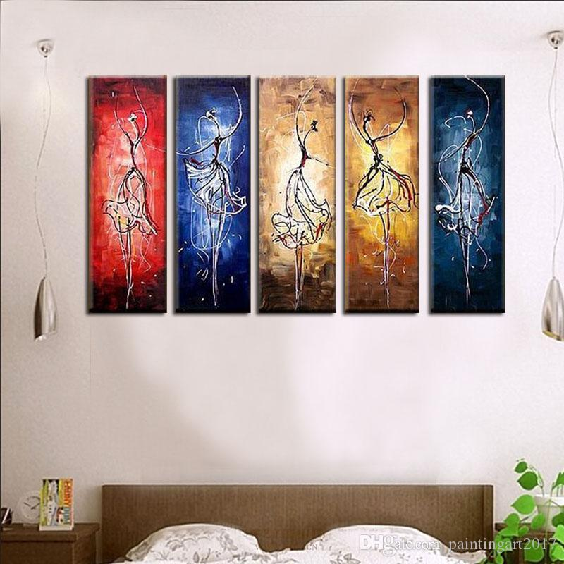 2019 Hand Painted Oil Painting Decorative Pictures Modern Living Room Wall Painting 5 Murals Paintings Abstract Girls Dance Painting From