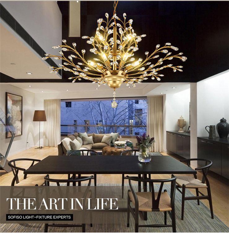 Modern Gold Shell Crystal Home Plafoniera Montaggio a incasso, Lampadari a sospensione Lampadari Illuminazione per soggiorno Camera da letto
